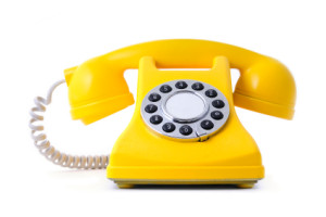 yellow painted classical phone